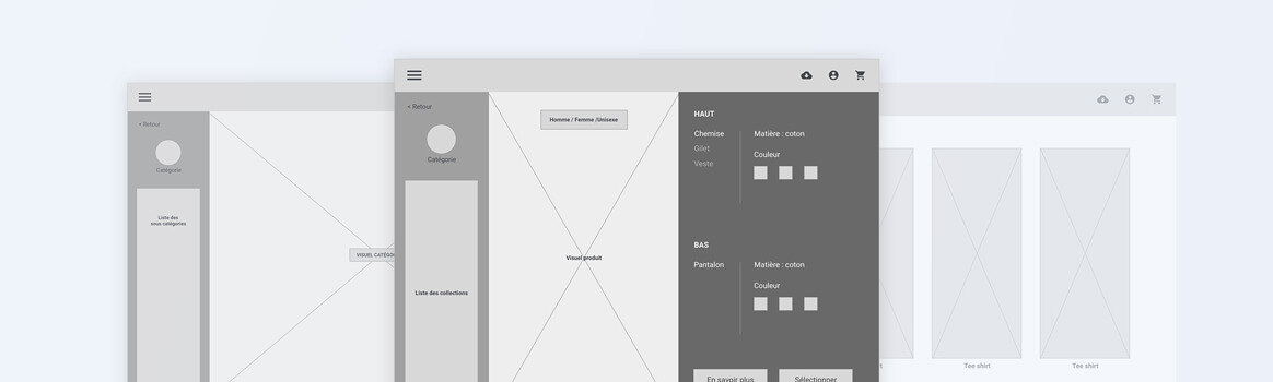 Phase de conception UX wireframe