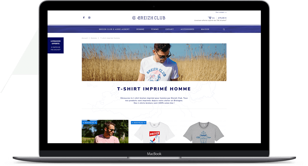 Interface site web e-commerce